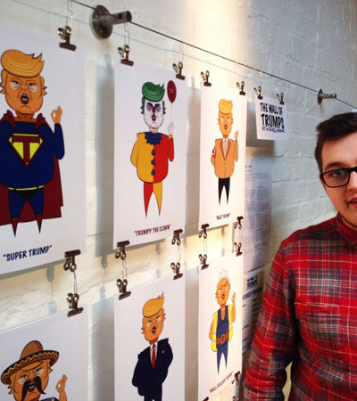 BA (Hons) Graphic & Media Design student Mitch Adams and his wall of Trump graphic artwork