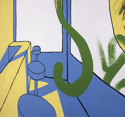 Level 2 Diploma in Art & Design student artwork painted in blue, yellow and green