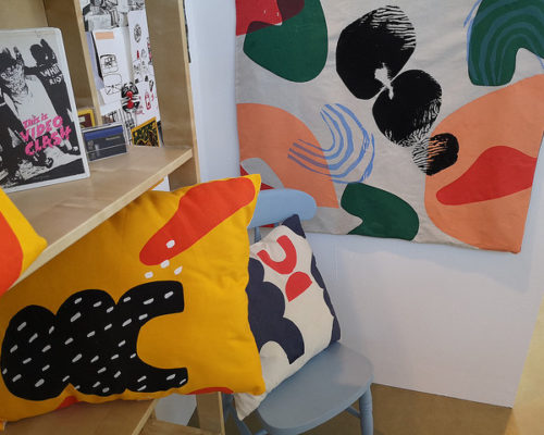 Level 3 Extended Diploma in Art and Design student artwork cushions and surface pattern