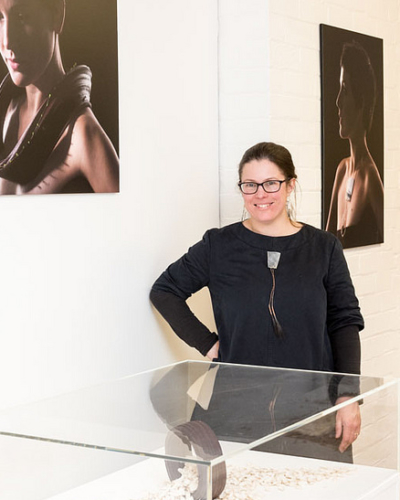 Ruth Cameron Swan with her MA Contemporary Crafts exhibition work