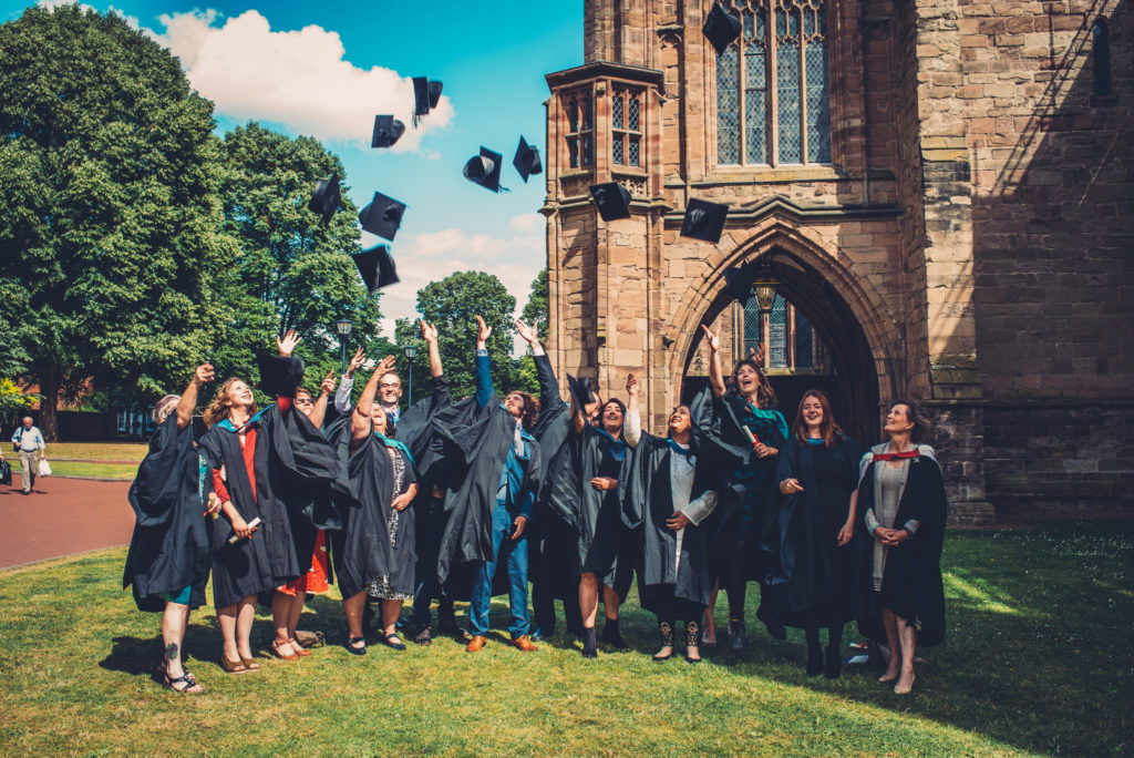 Graduating student outside Hereford Cathedral